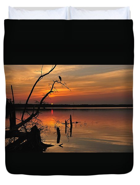 Duvet Cover featuring the photograph Sunset And Heron by Angel Cher