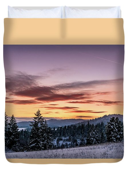 Sunset And Mountains Duvet Cover