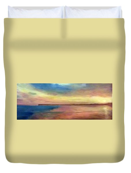 Sunset And Pier Duvet Cover
