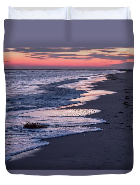 Duvet Cover featuring the photograph Sunset And Sea Foam Holgate Nj 2017 by Terry DeLuco