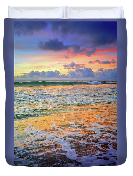 Duvet Cover featuring the photograph Sunset And Sea Foam by Tara Turner