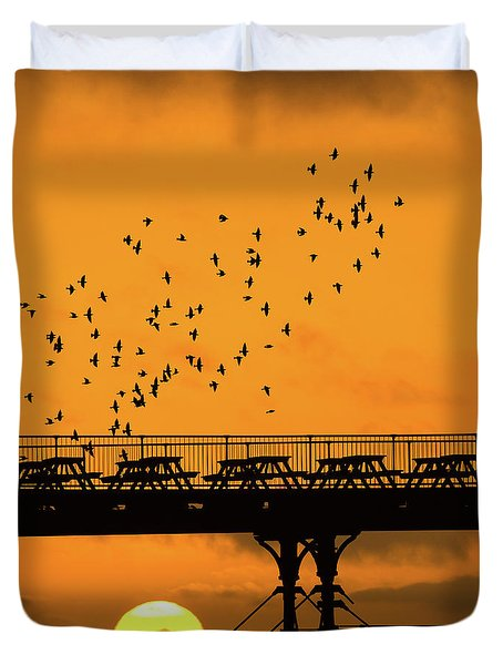 Sunset And Starlings In Aberystwyth Wales Duvet Cover