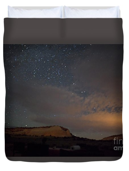 Duvet Cover featuring the photograph Sunset And Stars At White Pocket by Anne Rodkin