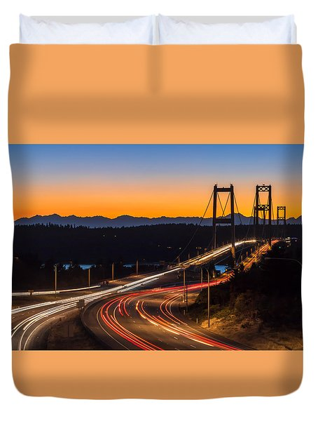 Sunset And Streaks Of Light - Narrows Bridges Tacoma Wa Duvet Cover by Rob Green