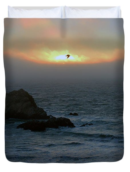 Sunset With The Bird Duvet Cover
