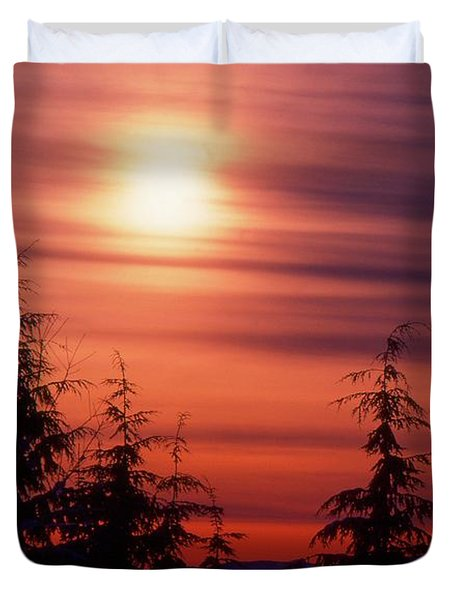 Sunset And Trees Two  Duvet Cover