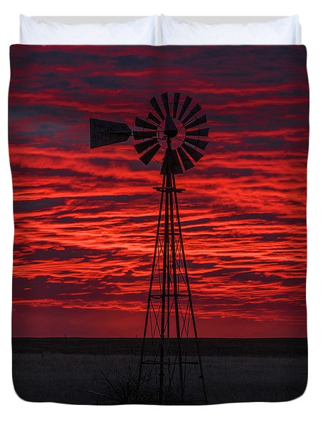 Duvet Cover featuring the photograph Sunset And Windmill 02 by Rob Graham