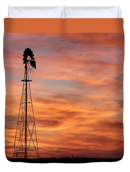Sunset And Windmill 04 Duvet Cover