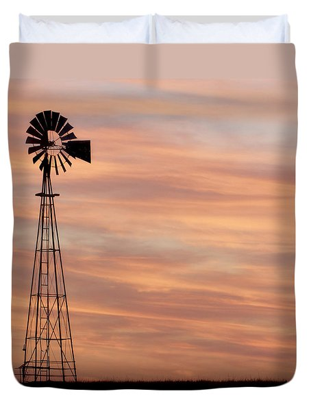 Sunset And Windmill 05 Duvet Cover
