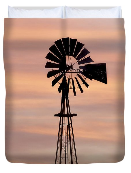Sunset And Windmill 06 Duvet Cover