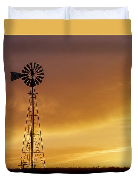 Duvet Cover featuring the photograph Sunset And Windmill 09 by Rob Graham
