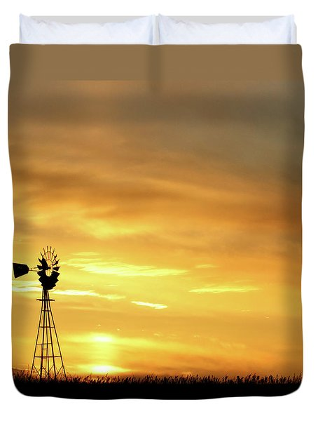 Duvet Cover featuring the photograph Sunset And Windmill 11 by Rob Graham
