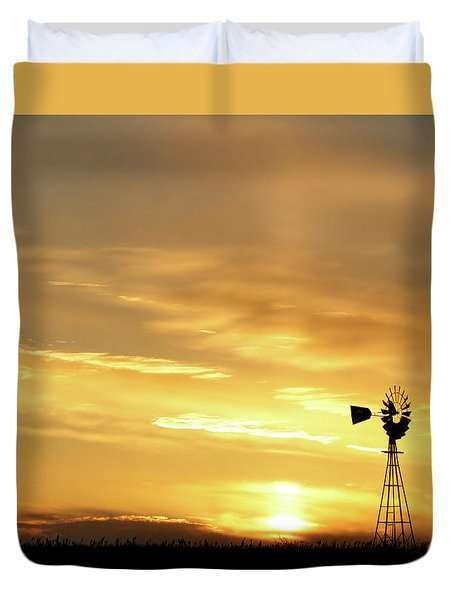 Duvet Cover featuring the photograph Sunset And Windmill 13 by Rob Graham