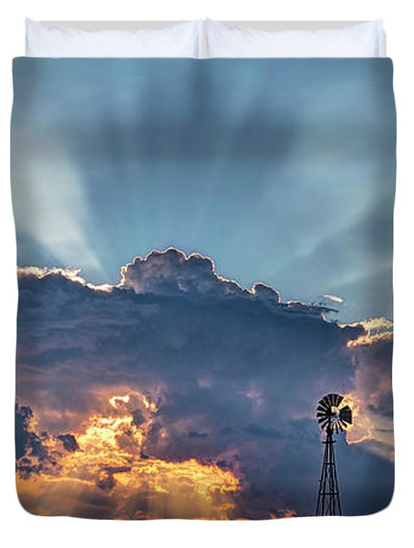 Sunset And Windmill Duvet Cover
