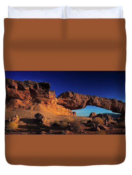 Duvet Cover featuring the photograph Sunset Arch Pano by Edgars Erglis