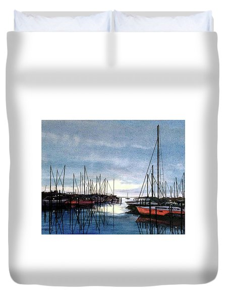 Duvet Cover featuring the painting Sunset At Apollo Beach by Janet King