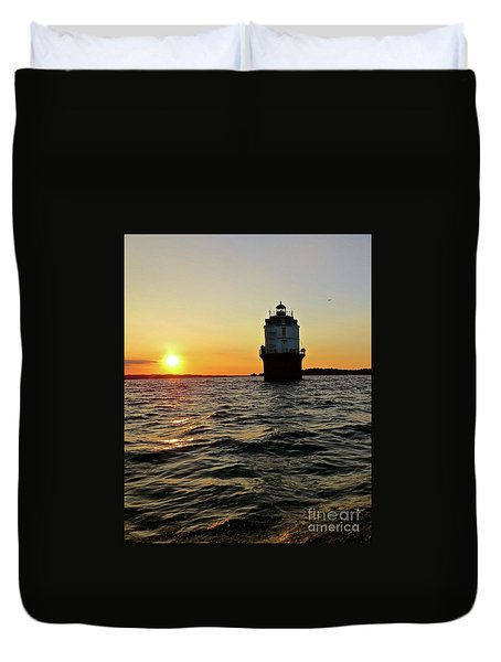 Sunset At Baltimore Light  Duvet Cover by Nancy Patterson