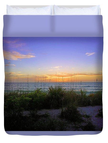 Sunset At Barefoot Beach Preserve In Naples, Fl Duvet Cover