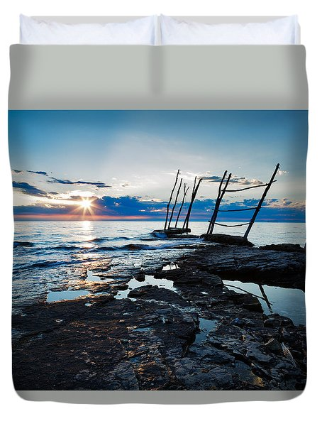 Duvet Cover featuring the photograph Sunset At Basanija by Ian Middleton