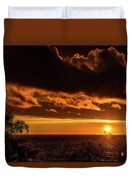 Duvet Cover featuring the photograph Sunset At Bay Harbor by Onyonet  Photo Studios