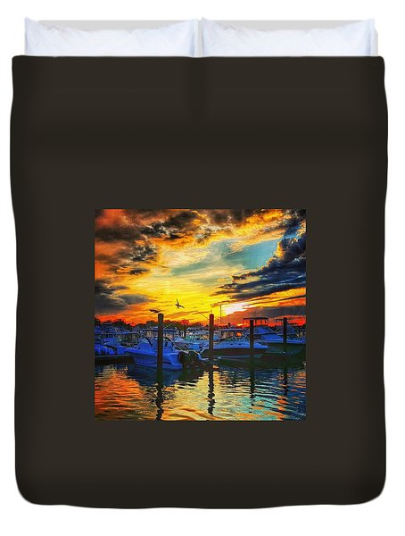 Sunset At Belmar Marina Duvet Cover