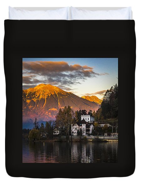 Sunset At Bled Duvet Cover