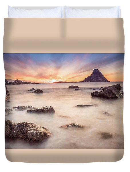 Sunset At Bleik Duvet Cover