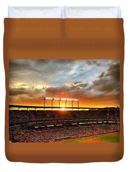 Sunset At Camden Yards Duvet Cover