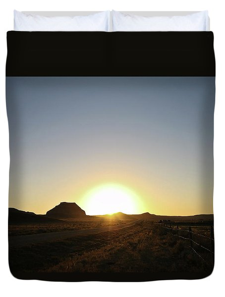 Sunset At Castle Butte Sk Duvet Cover