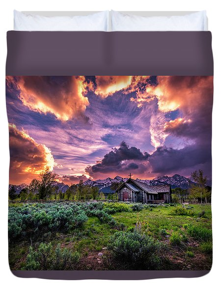 Sunset At Chapel Of Tranquility Duvet Cover