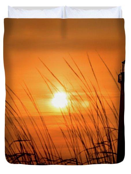 Sunset At Cm Lighthouse Duvet Cover