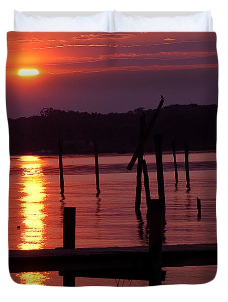 Sunset At Colonial Beach Duvet Cover by Clayton Bruster