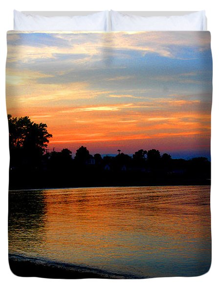 Sunset At Colonial Beach Cove Duvet Cover by Clayton Bruster