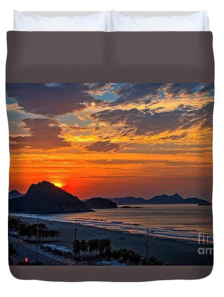 Sunset At Copacabana Duvet Cover
