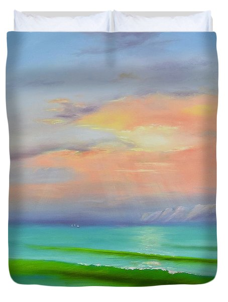 Duvet Cover featuring the painting Sunset At Dana Point  by Mary Scott