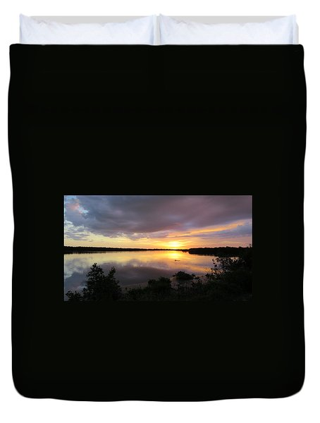 Sunset At Ding Darling Duvet Cover by Melinda Saminski