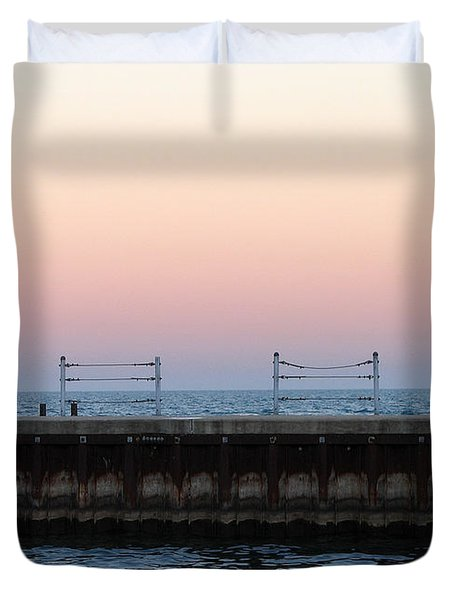 Sunset At Diversey Harbor Duvet Cover