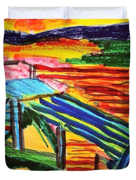 Sunset At Dock Duvet Cover