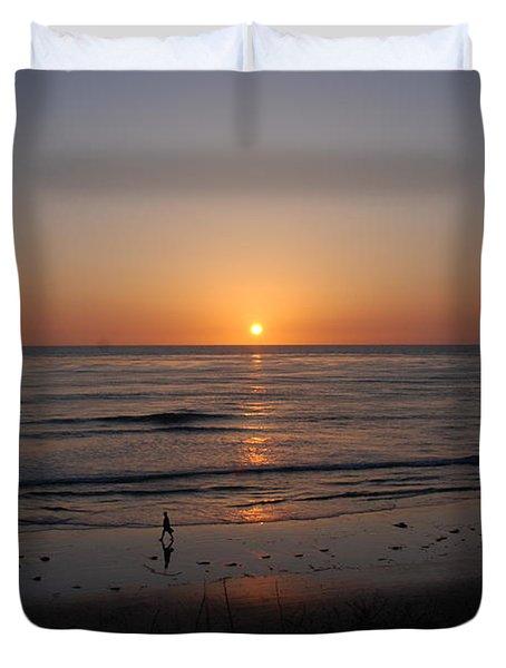 Sunset At Eljio Beach California Duvet Cover by Susanne Van Hulst