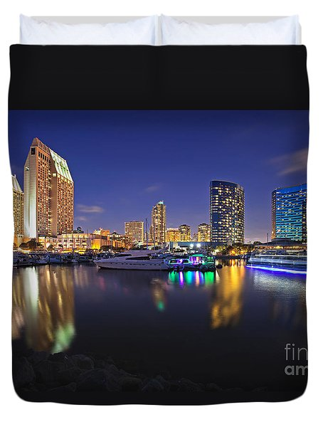 Sunset At Embarcadero Marina Park In San Diego Duvet Cover