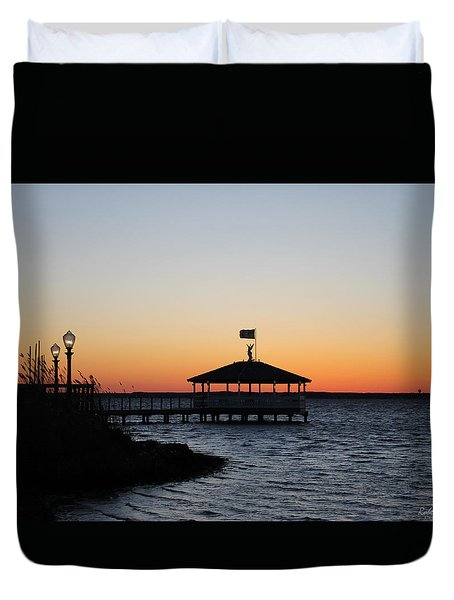Sunset At Fagers Island Gazebo Duvet Cover
