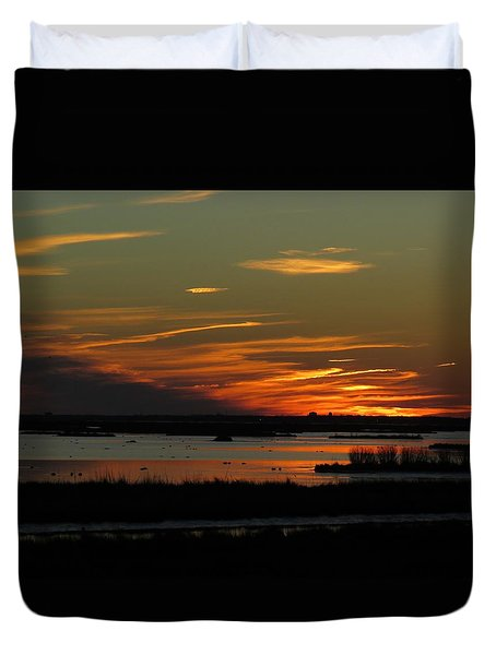 Duvet Cover featuring the photograph Sunset At Forsythe Reserve by Melinda Saminski
