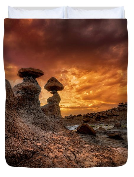 Sunset At Goblin Valley Duvet Cover