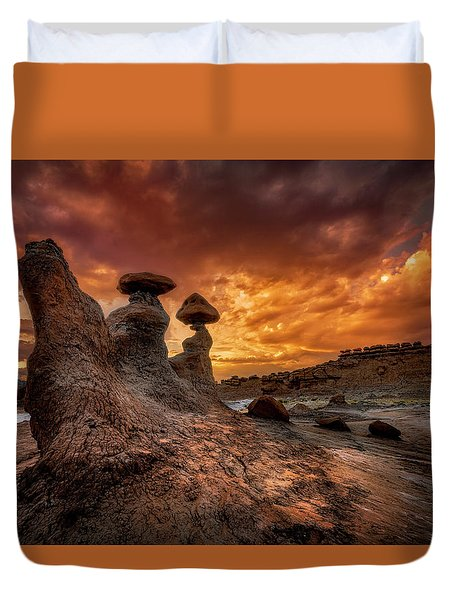 Sunset At Goblin Valley Duvet Cover
