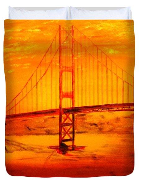 Sunset At Golden Gate Duvet Cover by Helmut Rottler
