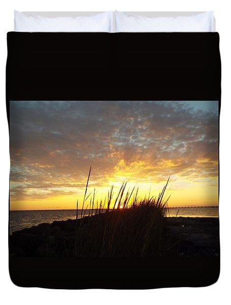 Sunset At Goose Island, Tx Duvet Cover