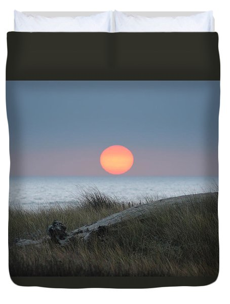 Sunset At Halfmoon Bay Duvet Cover