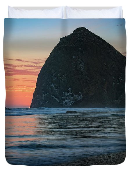 Duvet Cover featuring the photograph Sunset At Haystack Rock by Rick Berk