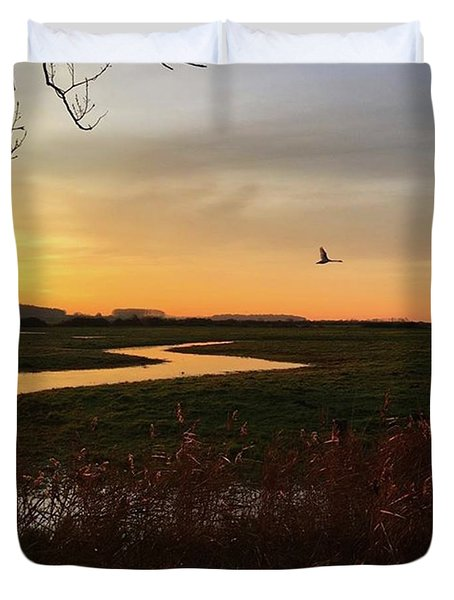 Sunset At Holkham Today  #landscape Duvet Cover by John Edwards