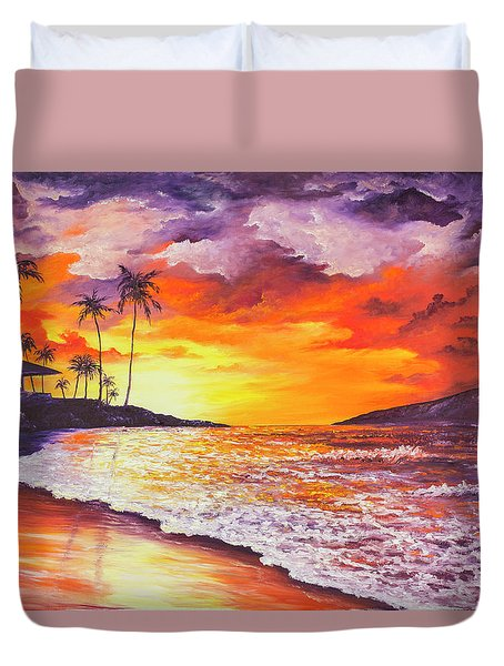 Sunset At Kapalua Bay Duvet Cover